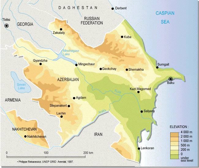 Топографическая карта азербайджана